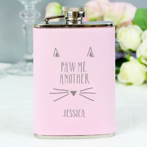Personalised Paw Me Another Pink Hipflask
